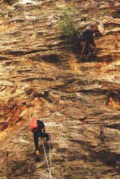 Zdjęcie ludzi wspinających się po skale