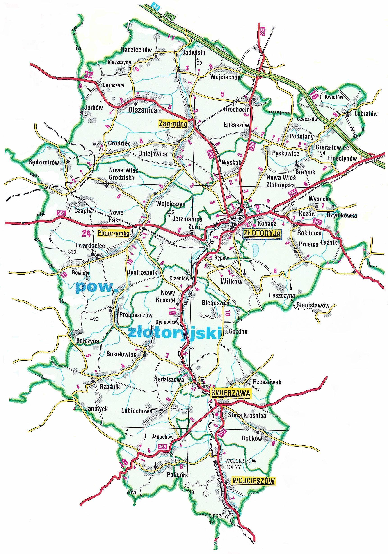 Mapa Powiatu Złotoryjskiego